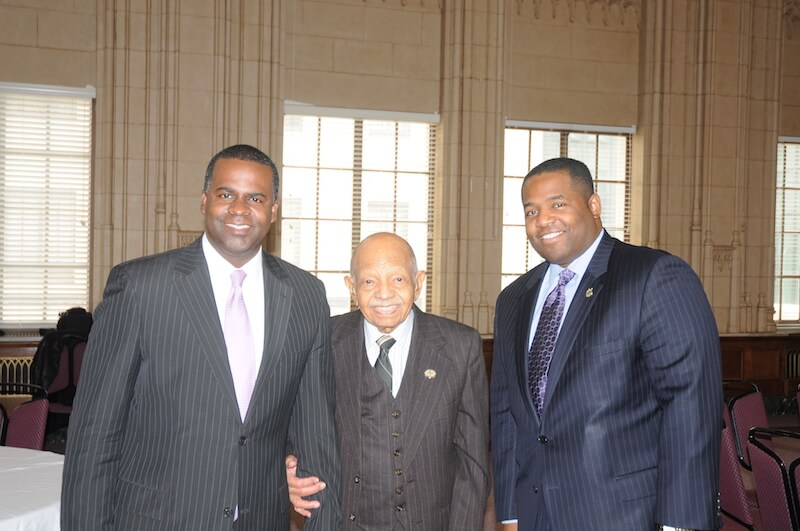 Bro. Dosh Jackson is honored at Atlanta City Hall by Mayor Kasim Reed (L) and City Council President Bro. Ceasar Mitchell (R)