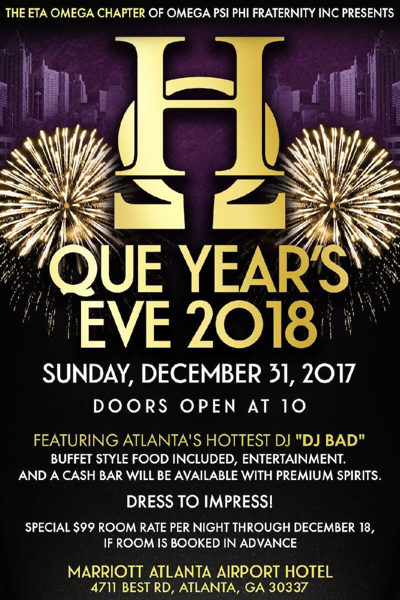 "Eta Omega ""Que Year's Eve 2018"" Party flyer"
