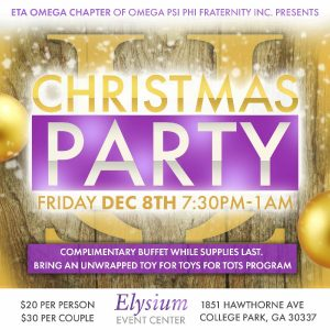 2017 Eta Omega Ques Christmas Party flyer