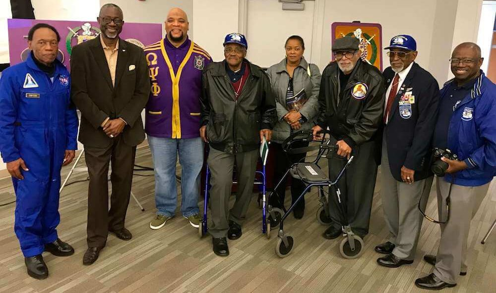 Eta Omega brothers, Tuskegee Airmen, and members of ASALH at the 2018 Black History Month Program: A Salute to the Military