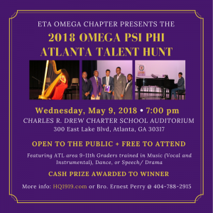 Flyer - 2018 Talent Hunt Eta Omega Chapter of Omega Psi Phi
