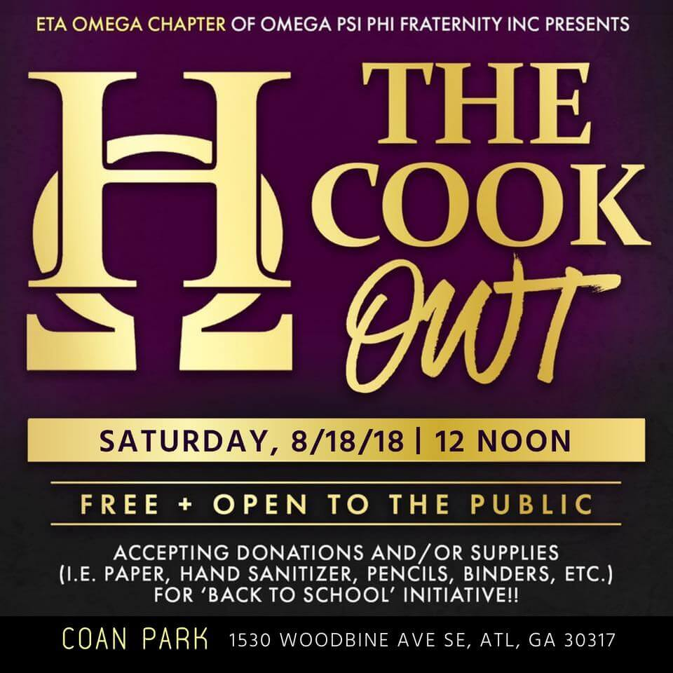 2018 Eta Omega Chapter Cookout flyer