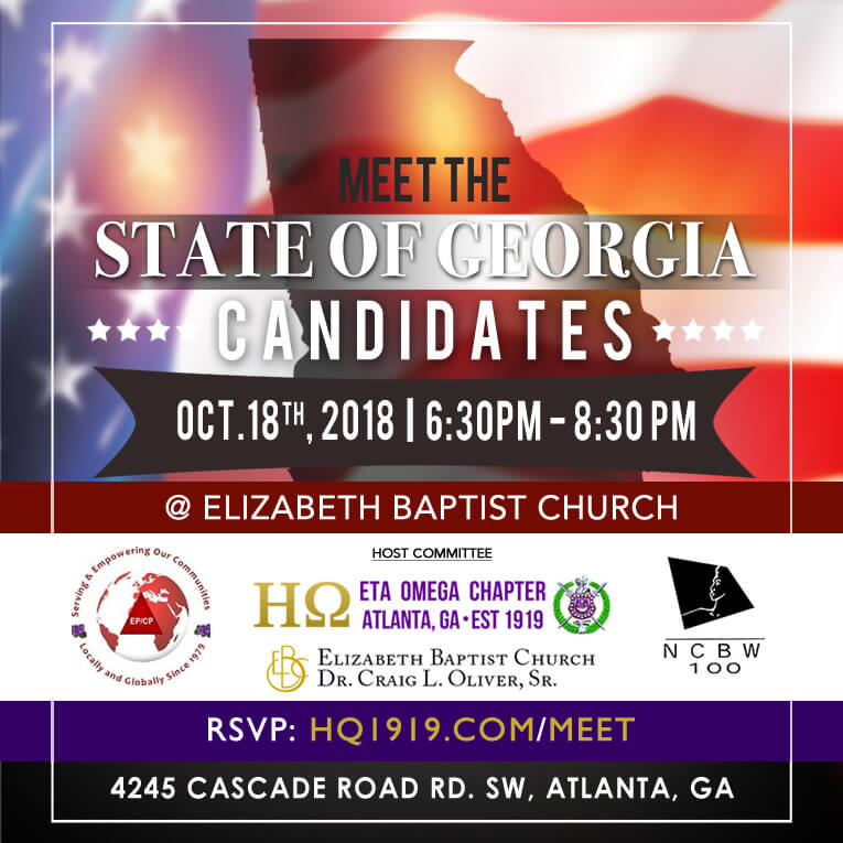 Flyer - Meet the State of Georgia Candidates Eta Omega, EPCP Delta Sigma Theta