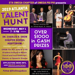 2019 Eta Omega Talent Hunt flyer
