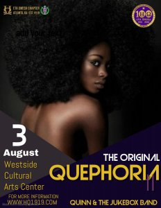 Quephoria 2 Party presented by Eta Omega Chapter flyer