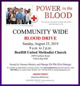 Flyer - Eta Omega Chapter of Omega Psi Phi Blood Drive at Ben Hill UMC