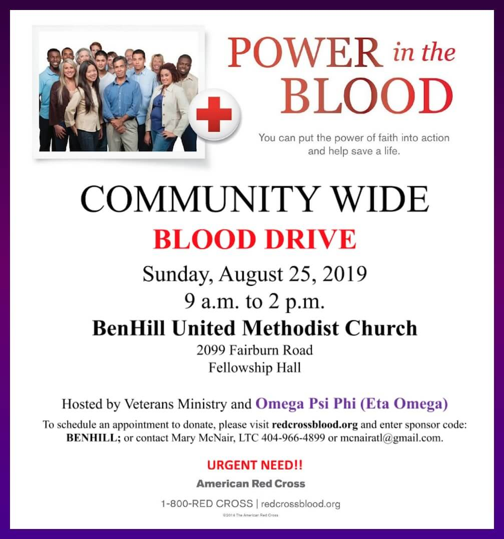 Flyer - Eta Omega Chapter of Omega Psi Phi Blood Drive at Ben Hill UMC