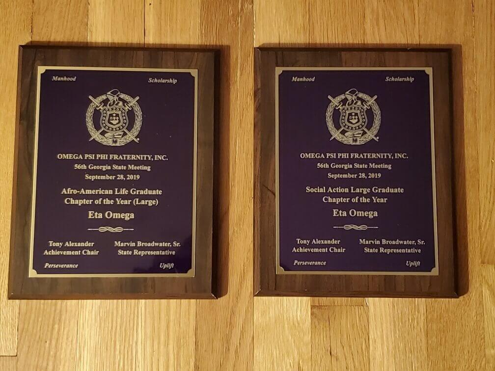 Eta Omega Chapter was recognized as Omega Psi Phi's Georgia Social Action Chapter of the Year and Afro-American Life Chapter of the Year in 2019.