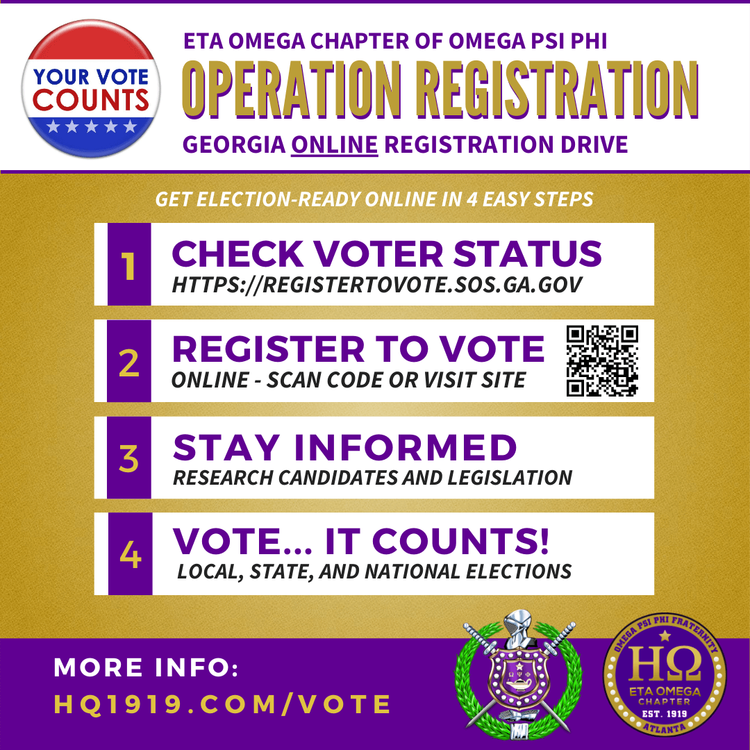 Operation Registration :: Eta Omega Chapter of Omega Psi Phi Georgia Voter Registration