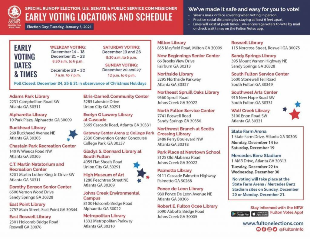 Fulton County 2021 Runoff Early Voting Locations & Schedule