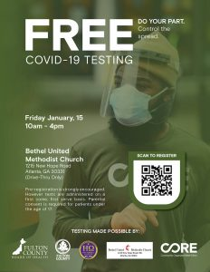 Free Covid-19 testing at Bethel UMC in Atlanta, sponsored by CORE, Eta Omega Chapter and the Fulton County Board of Health